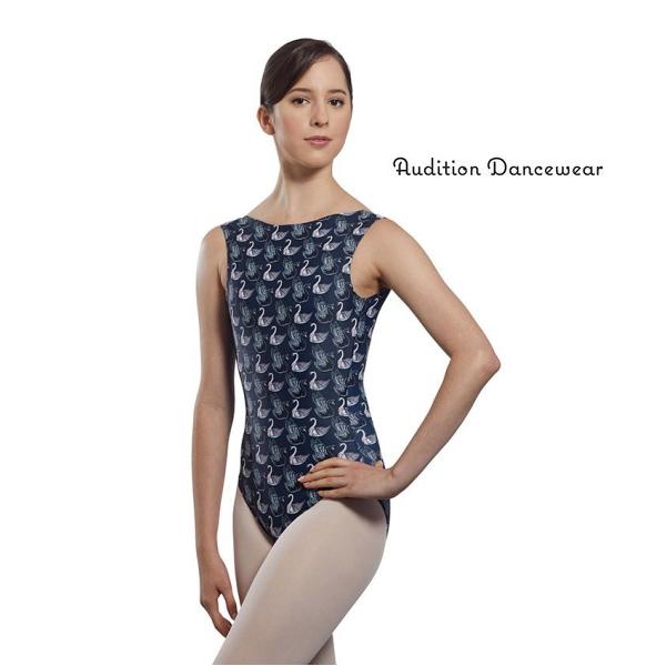 【Audition Dancewear】スワン柄ボートネックレオタード