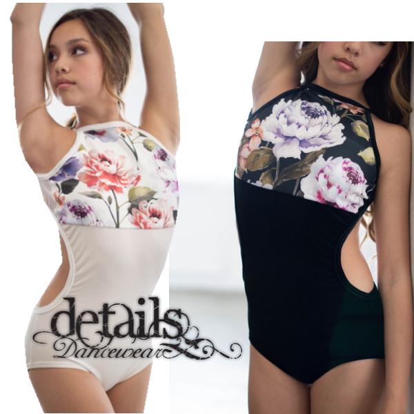 【Details Dancewear】Daydream 胸元の花柄がエレガントな ベロア ホルター レオタード(バレエ レオタード 大人 ディテールズダンスウェア アメリカ直輸入 日本未入荷)