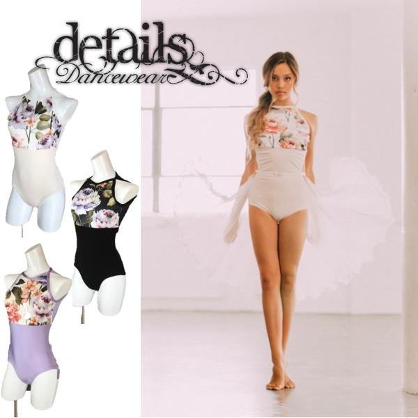 ☆在庫限り50%OFFセール!!☆<br>【Details Dancewear】Flowerdream 胸元が花柄ホルターネックの美しいレオタード