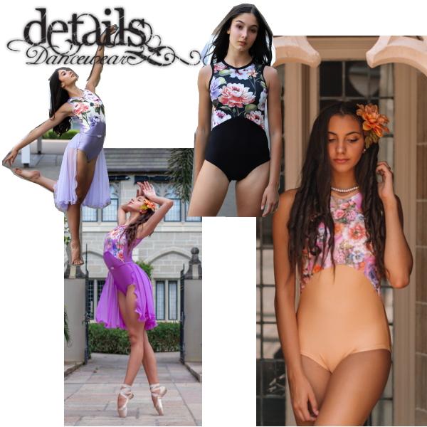 【Details Dancewear】GRACE 胸元が花柄・背中メッシュの優美なレオタード