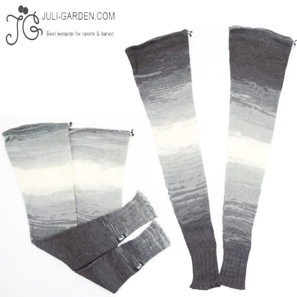 【 Juli Garden / ユリガーデン 】 レッグウォーマー ( チャコールグレー ) 手編み アクリルニット ロング丈