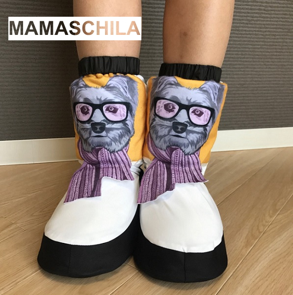【MAMASCHILA】ウォームアップブーツ スカーフ巻いた犬 ブーティー(バレエ ブーツ 楽屋用 ウクライナ製 ママシラ)