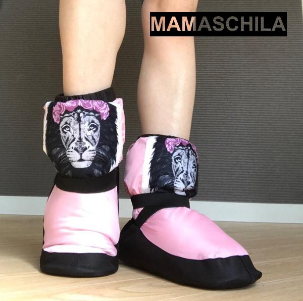 【MAMASCHILA】ウォームアップブーツ お花のカチューシャしたライオン:ブーティー(バレエ ブーツ 楽屋用 ウクライナ製 ママシラ)