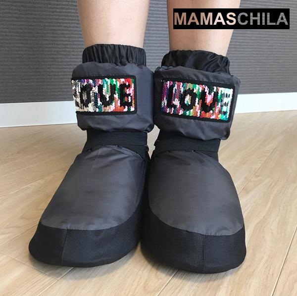 【MAMASCHILA】ウォームアップブーツ LOVEスパンコール(グレー):ブーティー(バレエ ブーツ 楽屋用 ウクライナ製 ママシラ)