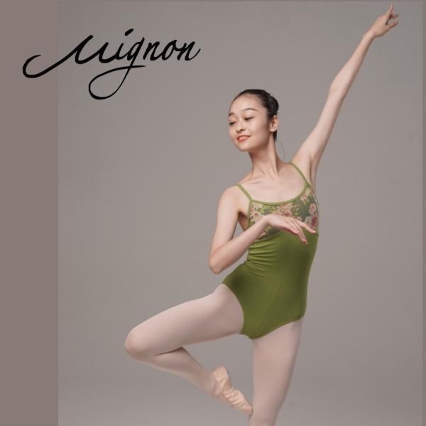 【Mignon】胸元バラ柄 キャミソール レオタード バレエ 大人<ハイクラスコレクション>