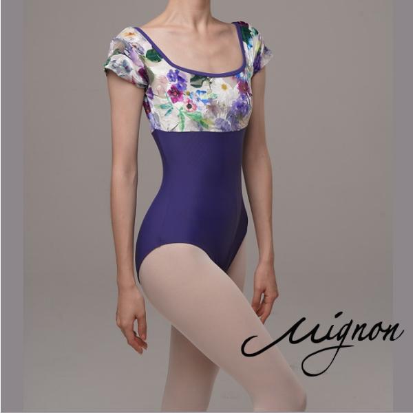 【Mignon】ヴァイオレットフラワー キャップスリーブ レオタード<限定デザイン>