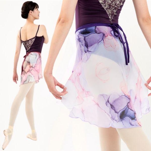 【Mihorobe/ミホローブ】巻きスカート 高級感のある大理石柄 001