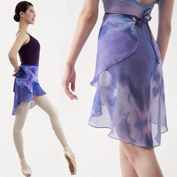 【Mihorobe/ミホローブ】 巻きスカート 水彩ブルーダークパープル 002