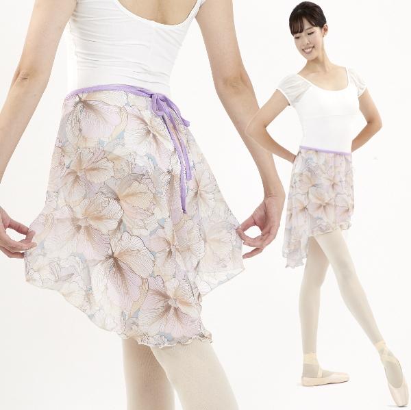 【Mihorobe/ミホローブ】 巻きスカート 落ち着いた花柄 ライトパープル 008