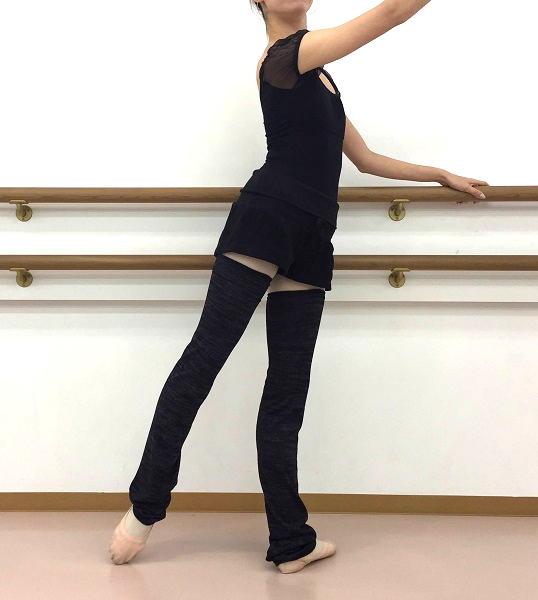 【Rubia Wear】バレエダンサーがデザインした超ロングレッグウォーマー Soft Charcoal(ブラックグレー)フルレッグ