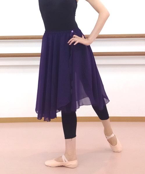 ロング♪60cm丈バレエスカート☆ウエストゴムスカート 【 パープル 】