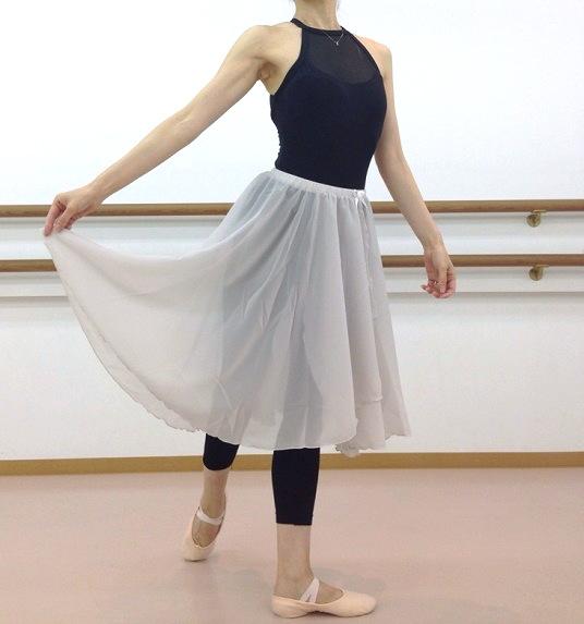 ロング♪60cm丈バレエスカート☆ウエストゴムスカート 【 グレー 】