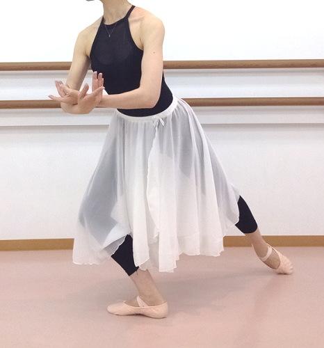 ロング♪60cm丈バレエスカート☆ウエストゴムスカート(巻きスカート風デザイン)【ホワイト】