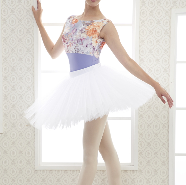 【Ting】バレエ練習用衣装★ホワイトのチュチュボンスカート♪(クラシックチュチュ)