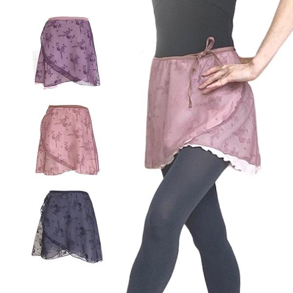 【お試しセール~7/3正午】巻きスカート 二枚重ね レースが浮かび上がる バレエスカート 3色