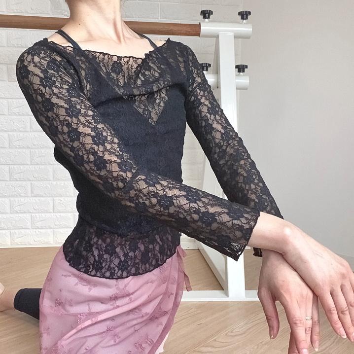 【 長袖トップス 】 総花レース 二の腕細見え♪ 大人バレエダンサーのために作りました!