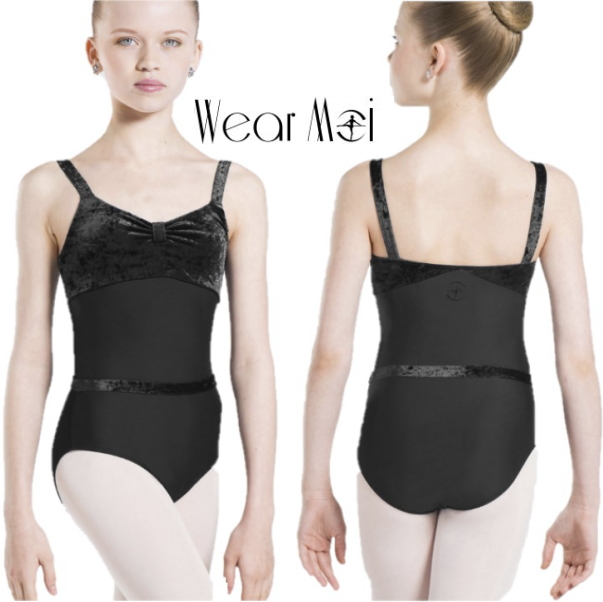 【Wear Moi 】ANGELINE バレエ ウエストゴム付き 胸元ベロア レオタード(ウエアモア)