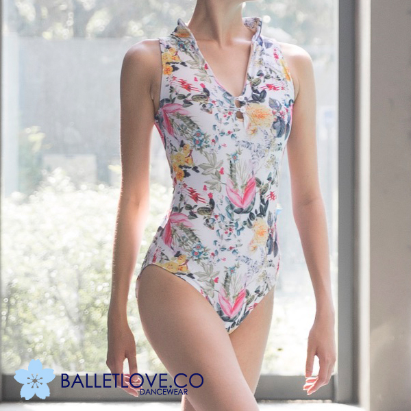 バレエレオタード大人BALLETLOVE 胸元ボタンデザイン 鮮やか花柄プリント