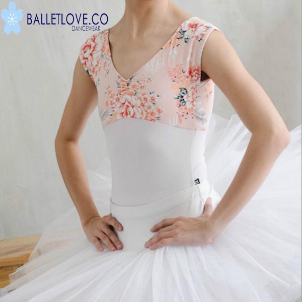バレエ レオタード BALLETLOVE 花柄プリント blocroyale ホワイトピンク バレエラブ
