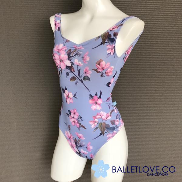 【BALLETLOVE】バレエラブ ブルー&花柄プリントのタンク レオタード  WindPetals Vanessa Leotard