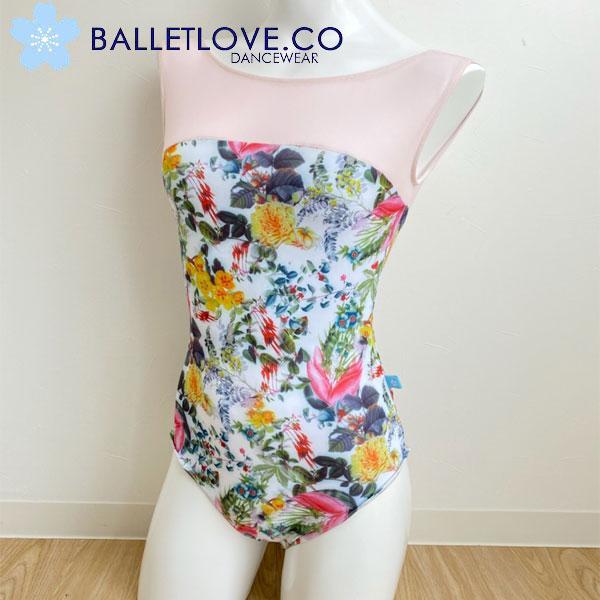 【 BALLETLOVE 】 鮮やか花柄プリントタンク型レオタード ピンクメッシュ ホワイトベース バレエラブ