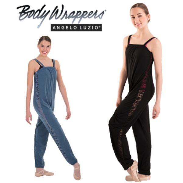 【Body Wrappers】オーバーオール サイドレース 楽屋着 ボディーラッパーズ 2色展開(ブラック・ブルー)ジュニア~大人