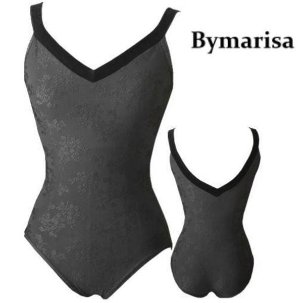 【 Bymarisa 】レオタード 刺繍模様が素敵なレオタード NY直輸入 バイマリサ ベロアストラップ