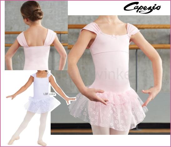 子供用バレエレオタード【カペジオ】お袖がユニークな可愛いチュチュスカート付き
