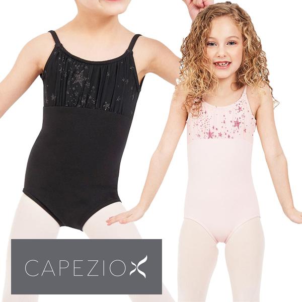 【カペジオ】 子供 スカートなし バレエ レオタード 胸元キラキラ☆ジュニア キッズ (2色展開)
