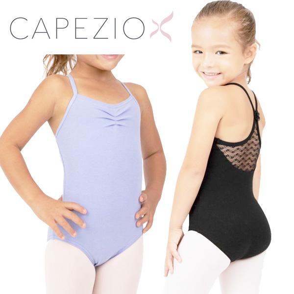 【カペジオ】 子供キャミソールレオタード スカートなし 背中レース 背中のお花が可愛い