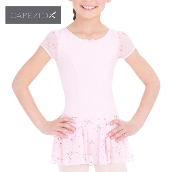 レオタード 子供 カペジオ パフスリーブドレス  スカート付 スパンコールがキラキラ可愛い♪