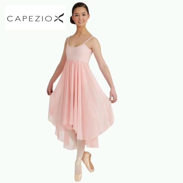 【カペジオ】ハイウエストのエレガントなドレスデザインのレオタード/舞台にも♪バレエレオタードドレス (ピンク)