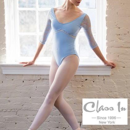 【CIdance】ニューヨークの 花柄レース 長袖 バレエ レオタード(アイスブルー) classin クラスイン