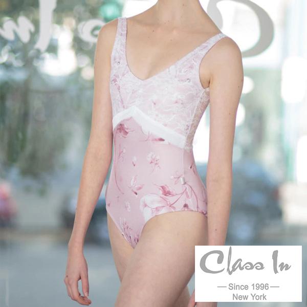【 CIdance 】 淡い花柄プリントとレース使いが美しいレオタード ( ピンク )クラスイン