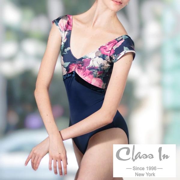 【 cidance 】半袖レオタード 胸元花柄プリント ネイビー クラスイン