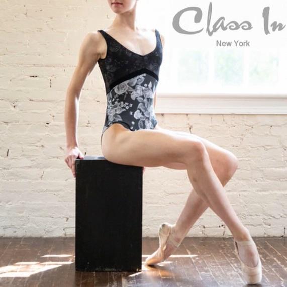 cidance  レオタード グレーローズ 胸元花柄ブラックレース バレエ classin クラスイン