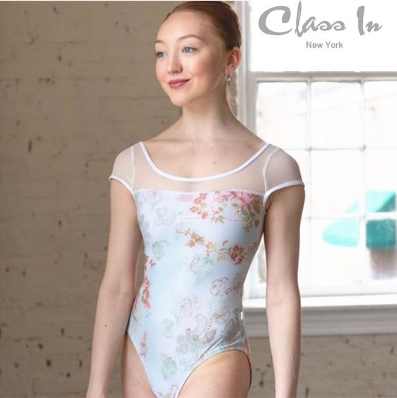 cidance キャップスリーブ 花柄 ミント  可愛らしい花柄とホワイトメッシュのコンビネーションカラー ニューヨーク工房