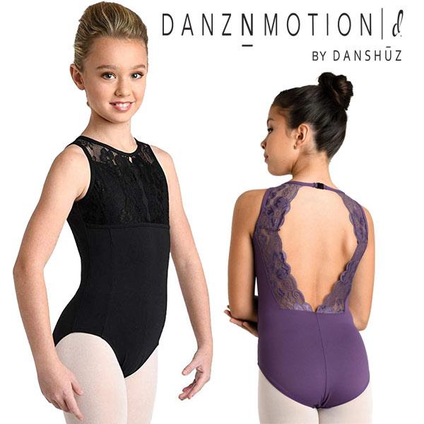 【DANZNMOTION】子供 レオタード 背中レース スカートなし