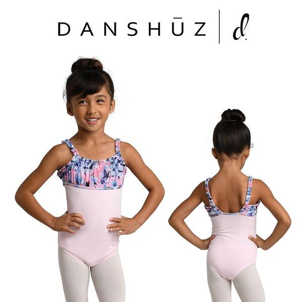 【DANZNMOTION】胸元シフォンメッシュ キャミソール型レオタード スカートなし バレエ レオタード 子供