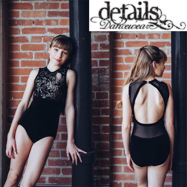 【Details Dancewear】GothicBlack 胸元花柄メッシュに刺繍が美しい! ベロア素材で高級感たっぷり!ディテールズダンスウェア 大人 バレエ レオタード