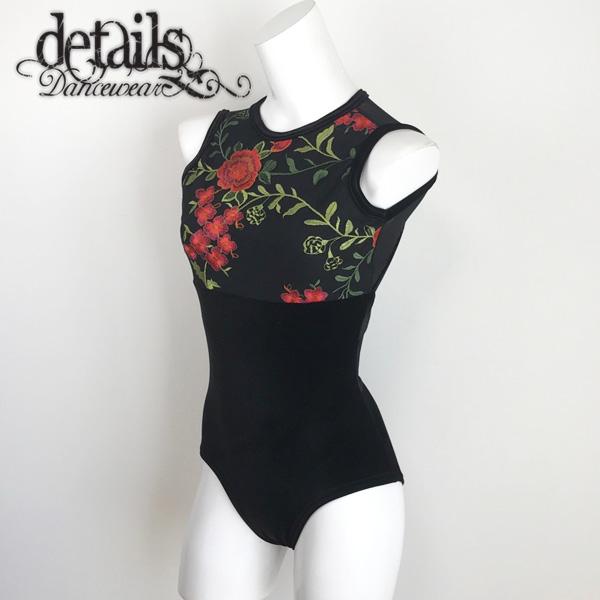 【Details Dancewear】バレエ レオタード 大人 鮮やかな刺繍が美しい!<br>ベロア素材で高級感たっぷり!ディテールズダンスウェア バレエレオタード