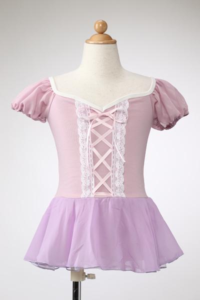 バレエ子供 【プリンセスレオタード☆】ラプンツェルのようなふんわりパフスリーブレオタード