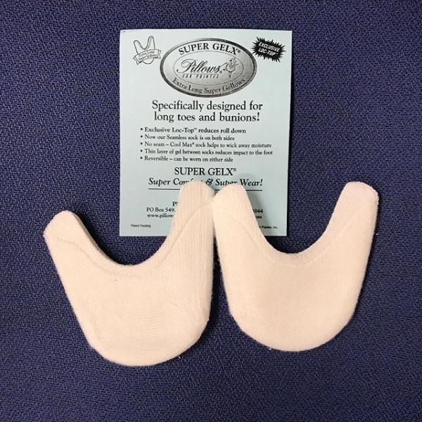 【Pillows】SUPER GELX:爪先を包み込む長めのトウパッド(薄手シリコン 両面布加工済み)
