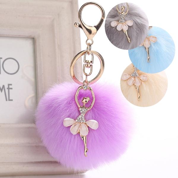 バレリーナ ファーキーホルダー バレエのレッスンバッグに付けたらとっても可愛いです!
