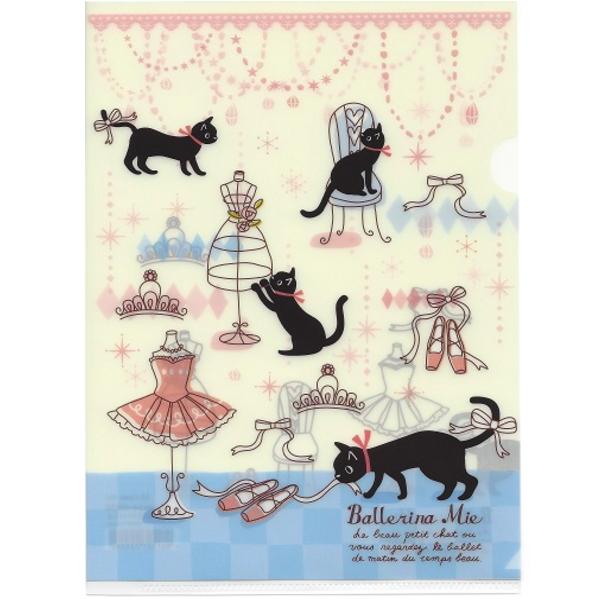 とっても可愛い♪チュチュ&猫&トウシューズ(バレエ)A5サイズのクリアファイル