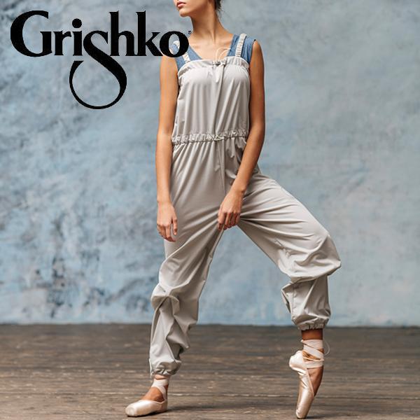 バレエ サウナパンツ グリシコ ウォームアップユニタード つなぎ<br>ウエスト、裾調節可能!ロング丈 2色展開