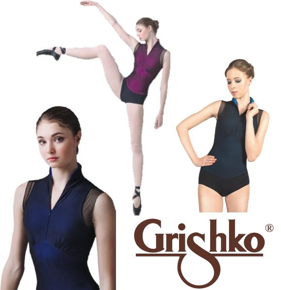 【 Grishko 】メッシュレイヤー付きジッパーフロントレオタード グリシコ 大人 レオタード