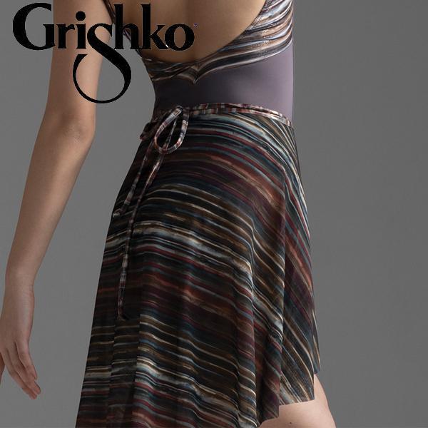 【グリシコ】バレエ 巻きスカート ロング丈 メッシュストライプ柄