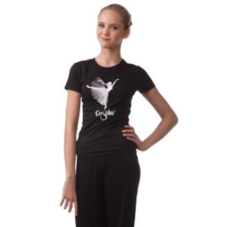 【Grishko★グリシコ】バレエTシャツ バレエロマンチックチュチュ柄☆<br>カッコ可愛いらしいバレエダンサーのプリント入り♪(3色)