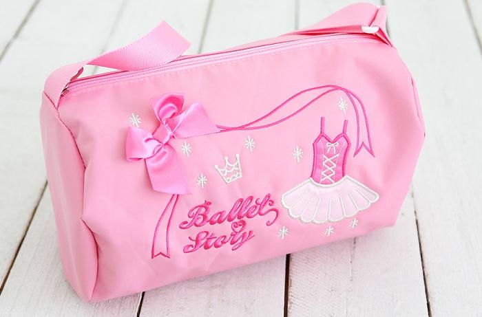 バレエ用品 チュチュとリボンがキュート♪ ピンクのドラム型バレエレッスンバッグ☆Ballet Story☆